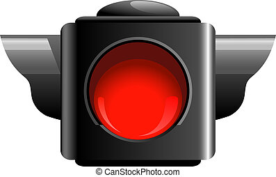 Red traffic light isolated on white. EPS 10, AI, JPEG