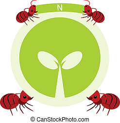 Red ants and nature symbol illustration - Red ants and...