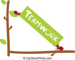 vermelho, formigas, texto, Trabalho equipe,...