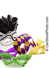 Mardi Gras masks on white backgound.