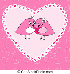 Card with birds in love