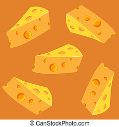 Seamless pattern with slices of cheese