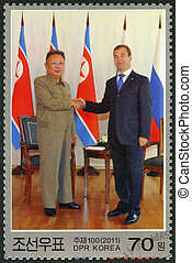 NORTH KOREA - CIRCA 2011: A stamp printed in North Korea...