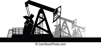 Oil derrick - Vector image of oil derricks on the ground