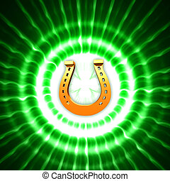 golden horseshoe and shamrock in green circles with rays