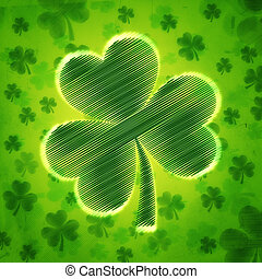 big striped shamrock in green old paper background with flowers
