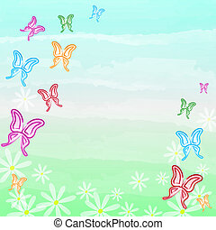 motley butterflies and white flowers spring background