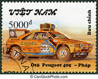 VIETNAM - 1991: shows Peugeot 405, series Rally Cars
