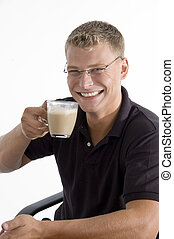 pleased man taking tea on an isolated white background