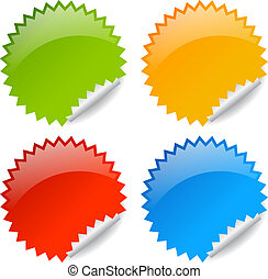 Vector blank glossy labels isolated on white