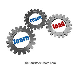learn, coach and lead in silver grey gearwheels - learn,...
