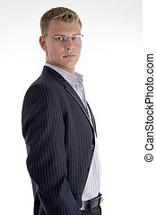side view of businessman with white background
