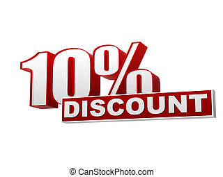 10 percentages discount red white banner - letters and block