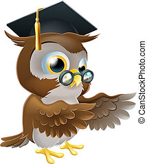 Teacher owl pointing - A cute cartoon wise owl wearing a...
