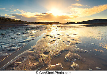 sand beach at low tide