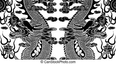 Twin chinese dragon art