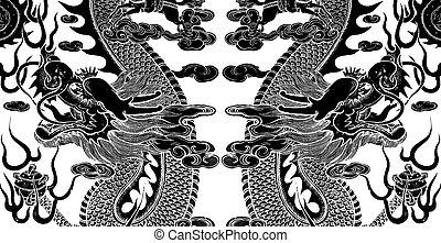 gemelo, chino, dragón, arte
