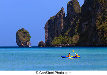 canoeing on Phi Phi island Thailand