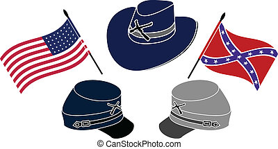 symbol of american civil war stencil second variant vector...