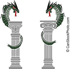 dragons and columns stencils vector illustration