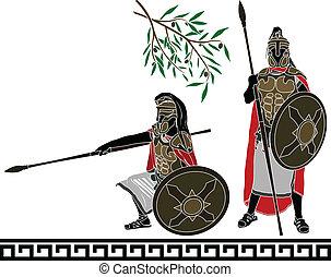 antiga, Hellenic, guerreiros