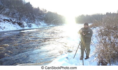 Shoot on winter river