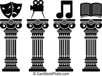 pedestals of arts. stencils. vector illustration