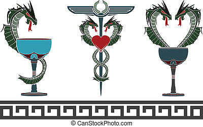 fantasy medical and pharmacy symbol - set of fantasy medical...