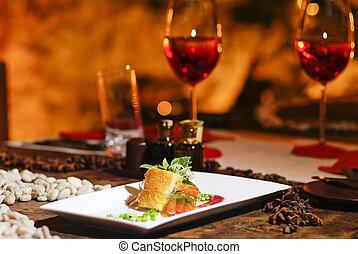 romanticos, salmão, bife, jantar, vermelho, vinho
