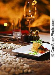 romanticos, salmão, jantar, bife, vermelho, vinho