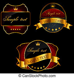 Decorative ornate golden vector frames on dark background