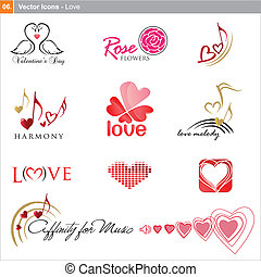 Vector icons: love - Vector icons - love and music theme