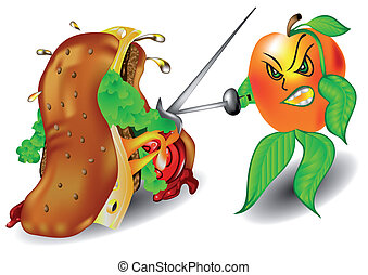 Apple and sandwich - Apple and a sandwich. Concept of...