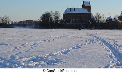 snowmobile people trakai - Pair of snowmobile transport and...