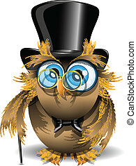 gentleman owl - illustration wise owl with blue eyes and...