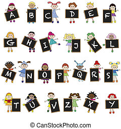 alphabet - illustration of children with letters of aphabet...