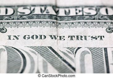in God we trust - close up of in God we trust motto on 100...