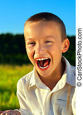 Boy Screaming Outdoor - Portrait of Screaming Boy in Summer...