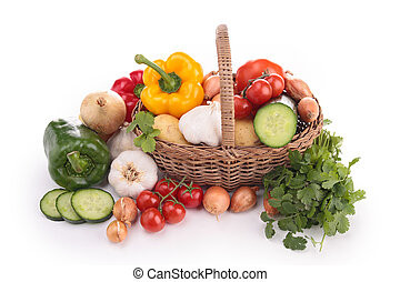 isolated wicker basket with vegetables