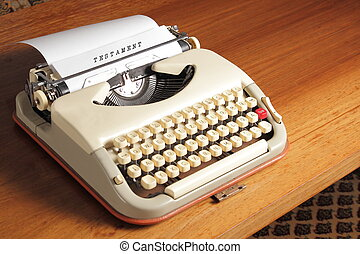 Old typewriter with Testament
