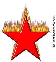 fogo, estrela, vermelho,  3D