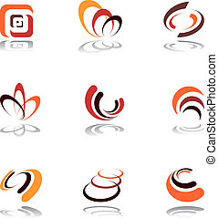 Design elements set - Design elements in warm colors Vector...