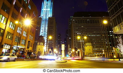 Chicago traffic - La Salle street with traffic at night...