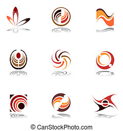 Design elements in warm colors. Vector art.