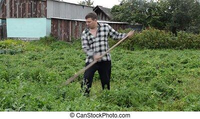 farmer mows the grass