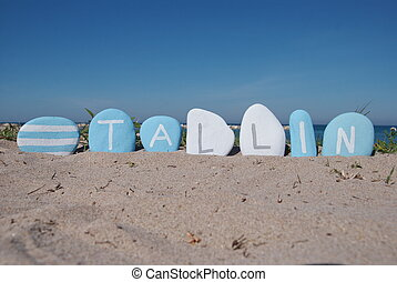 Tallin, Estonia - Souvenir of Tallin on blue and white...