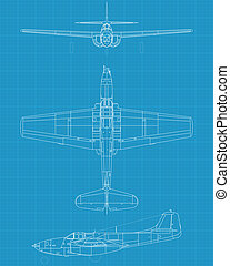 Aircomet P59 - high detailed vector illustration of old...