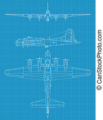 B17 flying fortress - high detailed vector illustration of...
