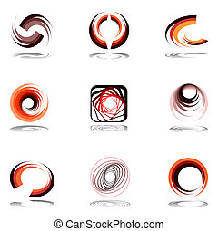 Design elements in warm colors Vector art