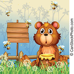 A bear and bees near a signage